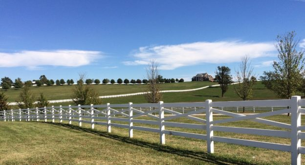 Lexington KY Bluegrass Horse Farm White Fence Rolling Hills House