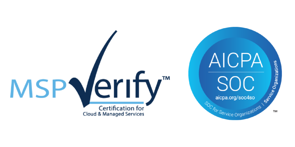 Logos about The AME Group Achieves MSP Verify Certification with SOC 2 audit