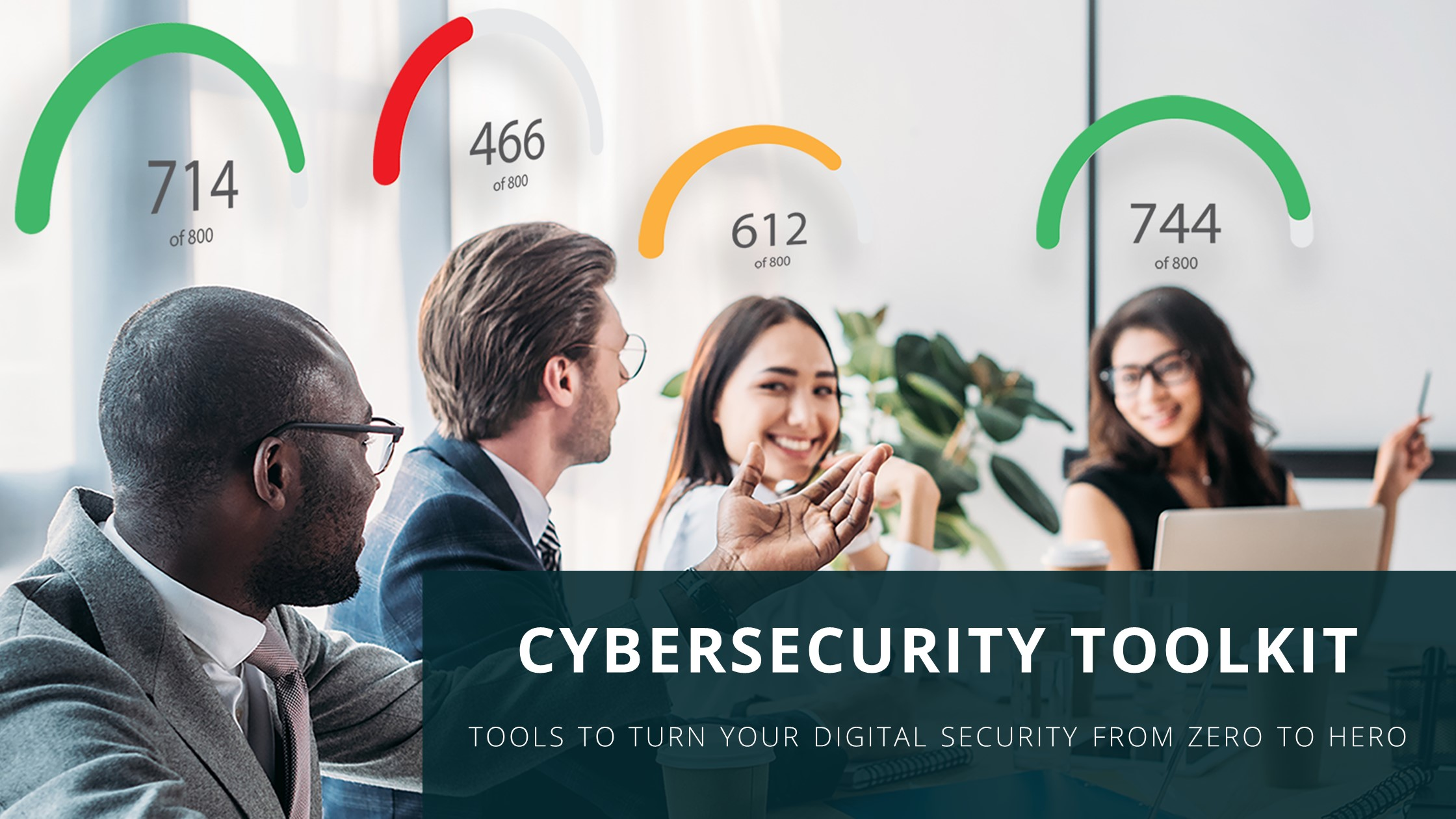 Coworkers with imaginary security scores above their heads