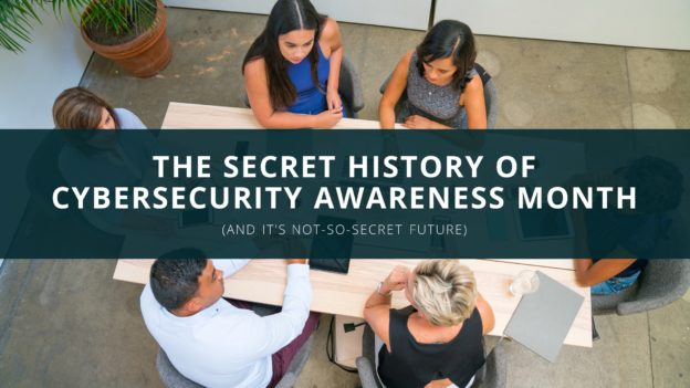coworkers around a desk cybersecurity awareness month banner