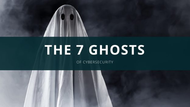 A Halloween Ghost with banner The 7 ghosts of Cybersecurity